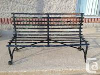 Vintage 1930's Strong Flat Steel Riveted Park Bench