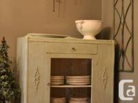 Vintage chalk repainted screen cupboards. Gorgeous