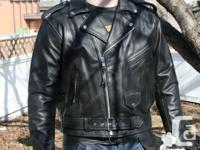 Road Gear Men's leather basic biker jacket. Three