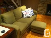 Sofa (3 places) well maintained, forest green fabric.