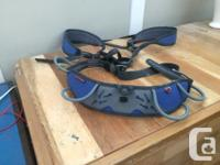 Climbing shoes, harness, belay, carabiner and chalk