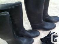 2 pairs rubber boots, EUC, size 5 (38), $20/ea. Black