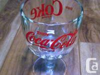 Classic Coca Soda pop COKE Thumbprint Glass Stemmed