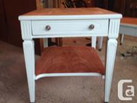 Refinished solid wood coffee table with 2 matching end