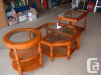 coffee table and 2 end tables - 3 piece set; glass