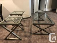 Coffee table 48L 26D 18H 2 end tables 22L 22W 24H In