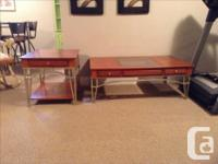 Beautiful matching tables Solid wood with metal bases