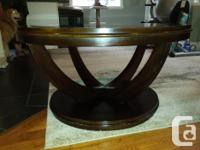Glass Topped Coffee Table & End Table. Dark wood