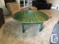 Very solid wood coffee table, distressed green in