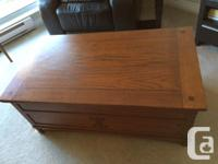 Solid wood coffee table with 4 drawers, converts to