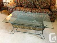 Wrought iron coffee table and side tables, 150 for