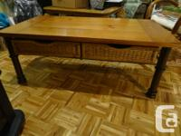 Coffee table with two large pull-out wicker drawers. In