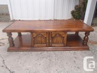 Solid Wood matching coffee table and end table. Asking