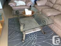 Lovely coffee table with glass leading, marble base and