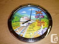 Collectible Wall Train Clock. Plastic construction,
