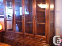 "2 piece china cabinet, 64""x81 1/2"" table and 6 chairs,"