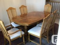 Complete Oak and Rattan Dining Room Suite with four