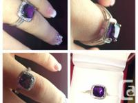 ALL NEW 10K white gold Amethyst ring with little