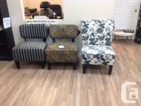 Brand-new armless accent chairs. various colours and