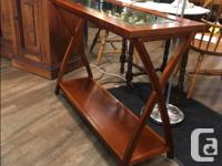 Wooden Console Table Beveled Glass Top Lower Shelf