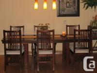 Lovely, large solid wood contemporary table with 6