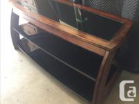 wood and glass 3 tier TV stand, bracket to mount TV