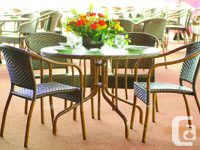 Variety of outdoor dining sets; many chairs and tables