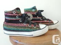 Converse size 12 girls tapestry All Stars high tops,