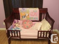 * Gorgeous solid, dark cherry timber crib with matching