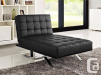 Convertible modern chaise lounger in black bonded