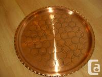 Solid Copper Trays  circular design pattern, scalloped