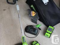 """Greenworks cordless mower, lithium 40V battery, 19""""."""