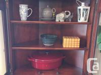 solid cherry corner curio, excellent condition, like