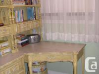 Corner desk, hutch, and single headboard Solid wood