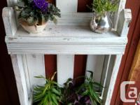 Rustic country cottage planter with a top shelf. Great
