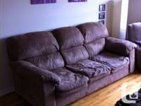 Couch, recliner and book shelf for sale - either