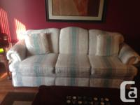 White with some coloured stripes Couch: 86L x 36W x32H
