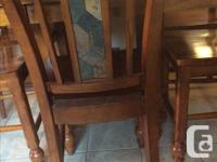 """Solid wood table 36"""" high Square 53""""X53"""" or remove leaf"""