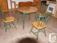 Country style Solid wood Kitchen table with three