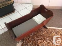 Baby cradle made from solid antique Honduras mahogany