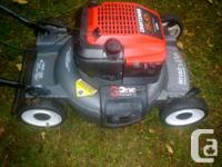 Lawnmower has a cast deck that never rusts and a