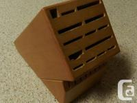 Crate and Barrel Knife Block for sale.  A few scratches