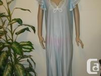 1960's light blue long Silky Designer Nightgown by