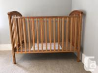"""Very good condition, includes mattress. Crib is 54.5"""" x"""