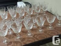 10 wine/water glasses 6 liqueur/Shot glasses 5 sherry