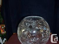 "Crystal vase  7""h x 7.5""w $15  Crystal candle holder"