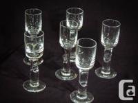 1.Atlantis crystal footed shots full set of 6 in ideal