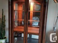 "Large Curio Cabinet. Size 47"" x 18"" x 81"". Has five"