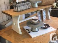 Custom built breadboard ends, Harvest Table . Complete