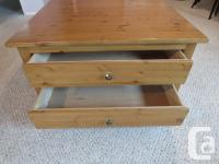 Unique custom crafted knotty pine coffee table with two